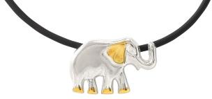 Anhänger in Elefantenform zweifarbig 925-Silber mit dazu passender Kautschukkette