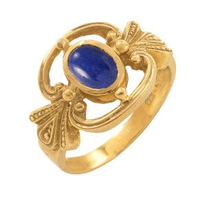 Ring 925/Silber goldplattiert mit einem Lapislazuliedelsteinen