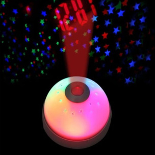 Digitaler Wecker mit LED Sternenhimmel weiß / silber