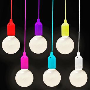 6er Set LED-Lampe mit Schnurschalter/ farbige Fassung & Schnur