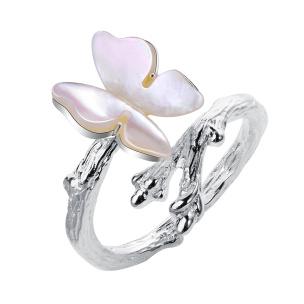 Ring Schmetterling aus Muschel Silber Si925 verstellbar