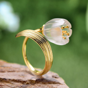 Ring Tulpen Silber verstellbar Si925 goldplattiert