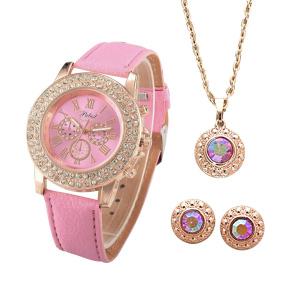 Geschenk-Set Damenuhr rosa und Schmuckset mit Swarovski® Kristallen
