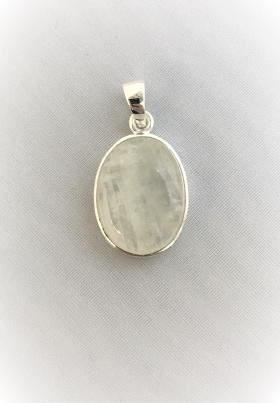 Anhänger Mondstein oval gefasst in SilberSi925