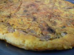 Omelett mit Champignons vom Straußenei