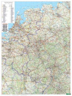 Freytag & Berndt Poster Wandkarte: Deutschland West 1:500.000, Plano in Rolle