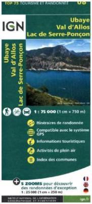 IGN Karte, Tourisme et Randonnée Ubaye, Val d'Allos, Lac de Serre-Poncon